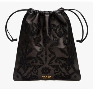 NEW Prada Embroidered Clutch Evening Bag Leather